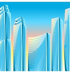City skyscrapers background in blue colors vector image