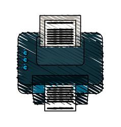 color crayon stripe cartoon printer device with vector image