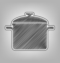 Cooking pan sign pencil sketch imitation vector