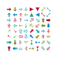 Different arrows pixel icons isolated collection vector