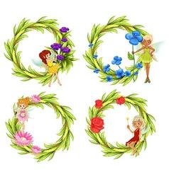 Fairies flying around the flower bouguet vector