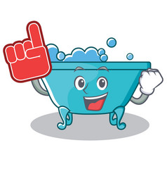 Foam finger bathtub character cartoon style vector