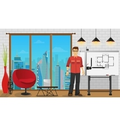 Man architect working with blueprint at office or vector