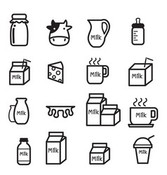 milk icon set vector image vector image