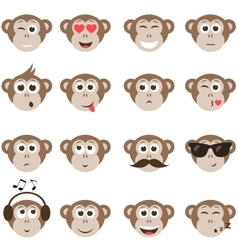monkey smiley faces set vector image