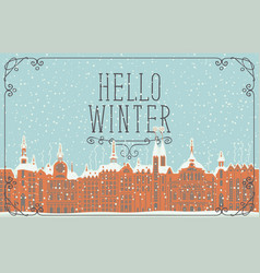 old winter town with snow-covered buildings vector image