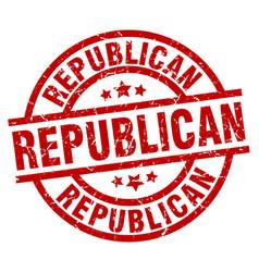 Republican round red grunge stamp vector