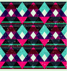Retro mosaic seamless pattern with grunge effect vector