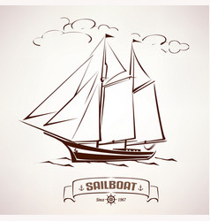 Sailboat vintage wooden ship sketch vector