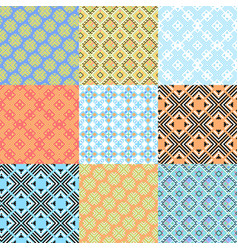 set of geometric ornaments based on embroidery vector image vector image