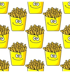 Smiling takeaway french fries seamless vector