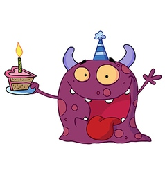 Spotted Purple Birthday Monster vector image