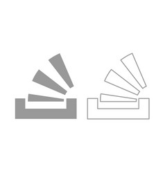 Stacking in the tray icon grey set vector