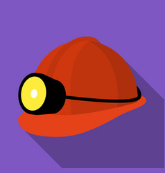 the helmet of a miner with a flashlightgear vector image