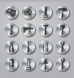 Toolbox Icons Set on Metal Buttons vector image