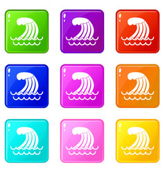 Tsunami wave icons 9 set vector