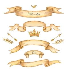 Watercolor set of ribbons vector