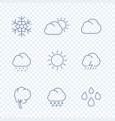 weather icons sunny cloudy day rain snowflake hail vector image
