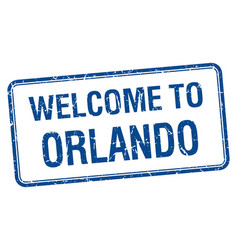 Welcome to orlando blue grunge square stamp vector