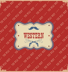 Western label background wild west with text vector