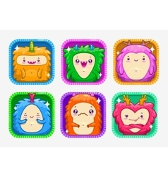 App icons with funny cartoon colorful monsters vector image