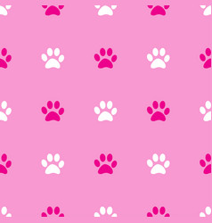 Animal paw seamless pink pattern vector