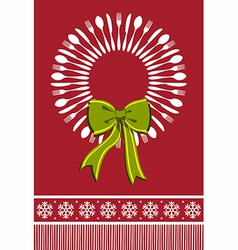 Cutlery wreath christmas background vector