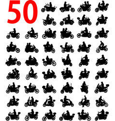 Big collection of motorcyclist silhouettes vector