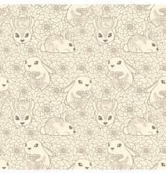 Vintage seamless pattern with bunnies and flowers vector