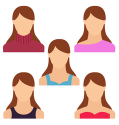 set of woman portrait various and modern avatar vector image