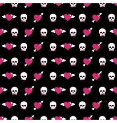 skulls and hearts vector image