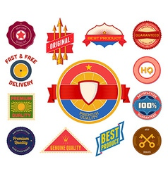 Set of flat colored vintage labels collection 8 vector