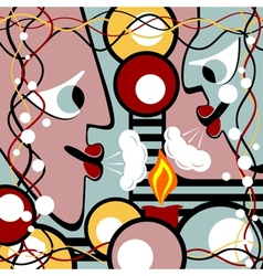 Abstract heads and candle vector