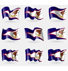 Set of american samoa flags in the air vector
