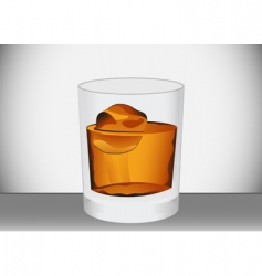 Glass of whiskey vector