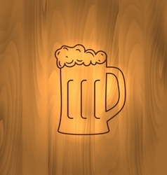 Two wooden mugs with beer on wooden background vector