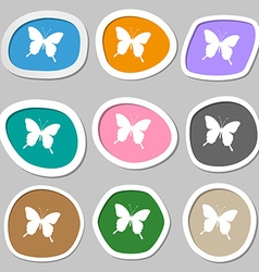 Butterfly icon symbols multicolored paper stickers vector
