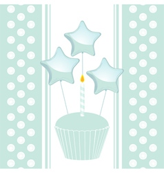 blue birthday cupcake with candle and balloons on vector image