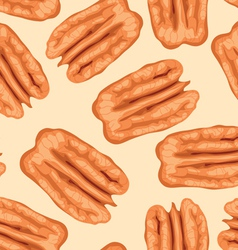 Pecan nuts seamless background vector