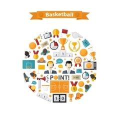 Basketball icons set in circle vector