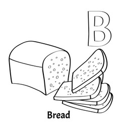 Alphabet Letter B Coloring Page Bread Vector Image