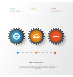 Auto icons set collection of wheel auto vector