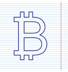 bitcoin sign navy line icon on notebook vector image vector image