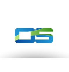 blue green os o s alphabet letter logo vector image vector image
