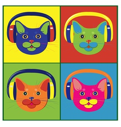 Brightly colored cats in the music headphones vector