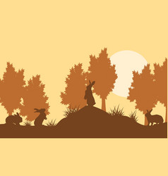 Bunny on hill landscape vector
