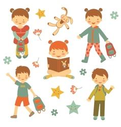 Collection of different kids vector image vector image