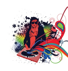 dj girl with floral vector image vector image