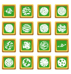 Fantastic planets icons set green vector
