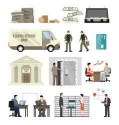Flat banking set vector